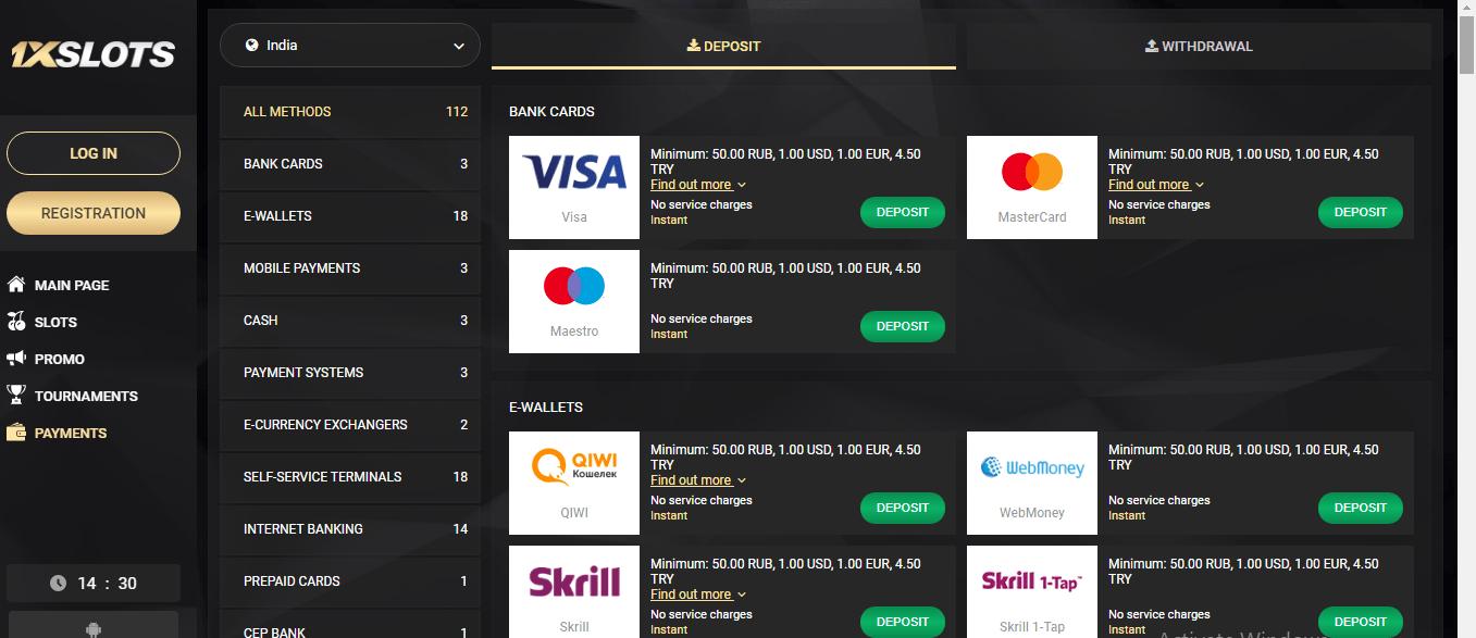 1xslots casino payment methods, 1xslots casino review
