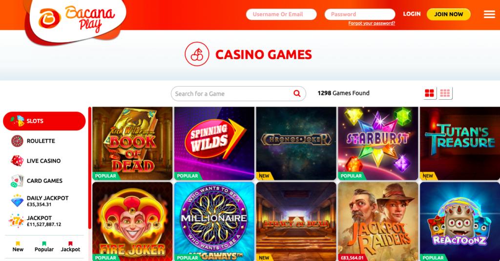 Bacana Play Casino Games
