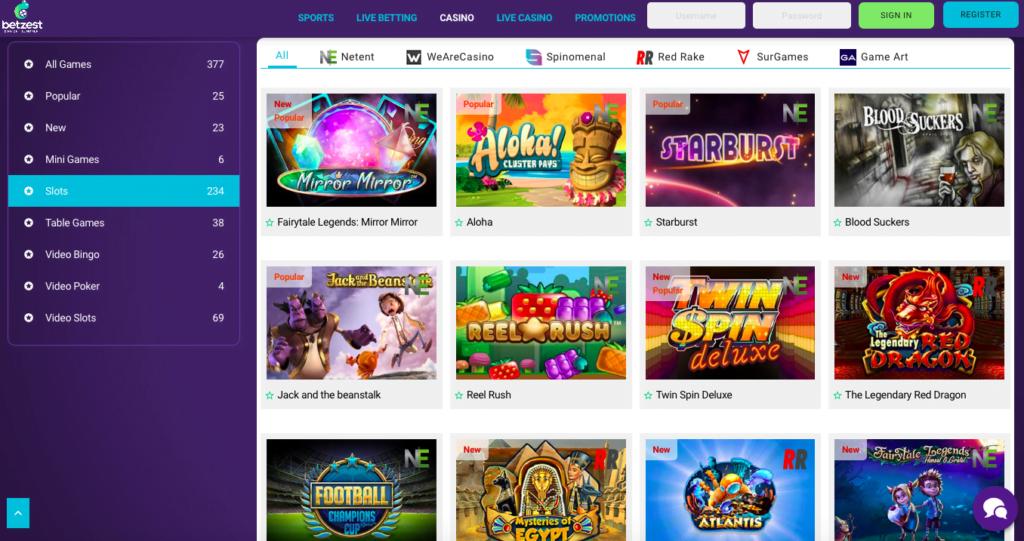 Betzest Casino Games