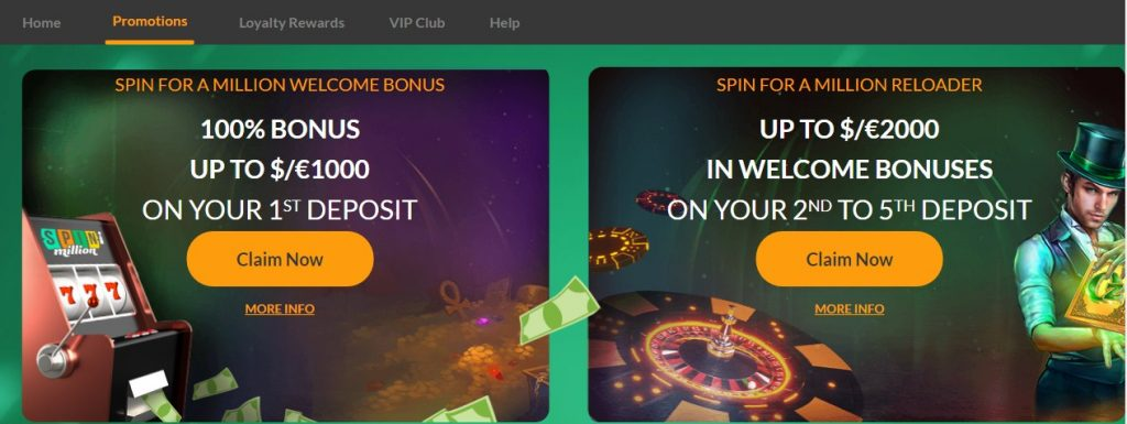 Spin Million Casino promotions