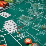 a casino table with chip and cards. math formulas all over it