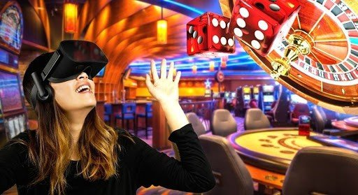 a woman with vr headset sitting in a casino room